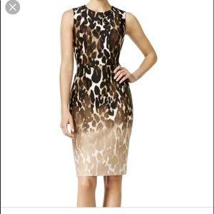 Calvin Klein Ombre Leopard Scuba Sheath Dress Sz 4